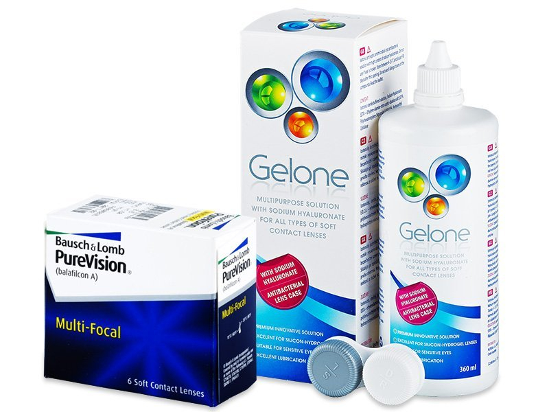 PureVision Multi-Focal (6 lenses) + Gelone Solution 360 ml