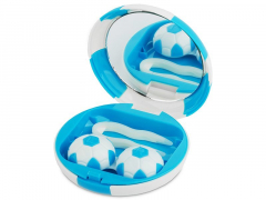 Lens Case with mirror Football - blue