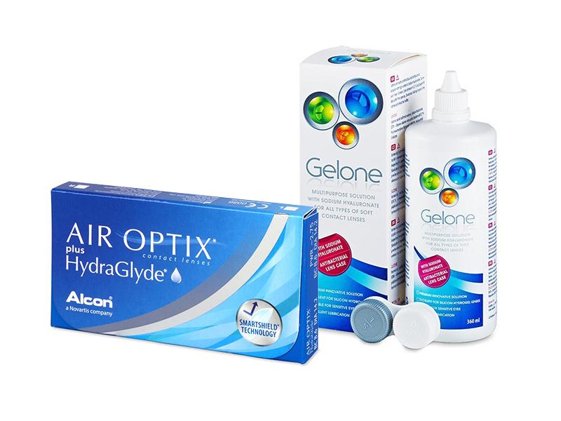 Air Optix plus HydraGlyde (3 lenses) + Gelone Solution 360 ml