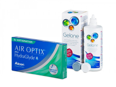 Air Optix plus HydraGlyde for Astigmatism (3 lenses) + Gelone Solution 360 ml