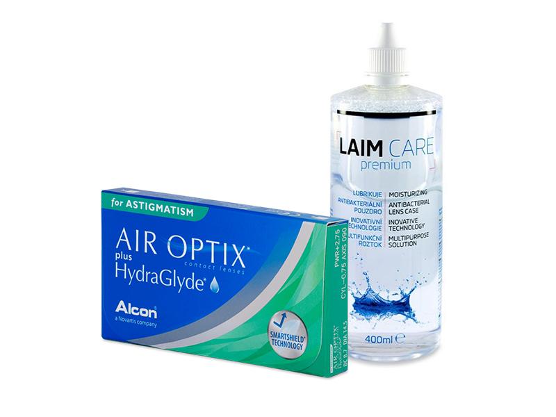Air Optix plus HydraGlyde for Astigmatism (3 lenses) + Laim-Care Solution 400 ml