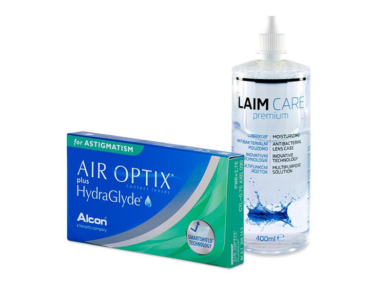 Air Optix plus HydraGlyde for Astigmatism (6 lenses) + Laim-Care Solution 400 ml