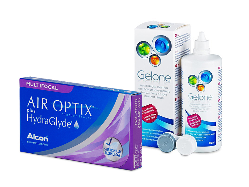 Air Optix plus HydraGlyde Multifocal (6 lenses) + Gelone Solution 360 ml