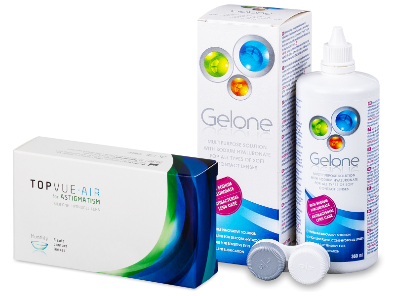 TopVue Air for Astigmatism (6lenses) + Gelone Solution 360 ml