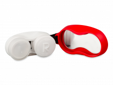 Lens case with carbiner - red